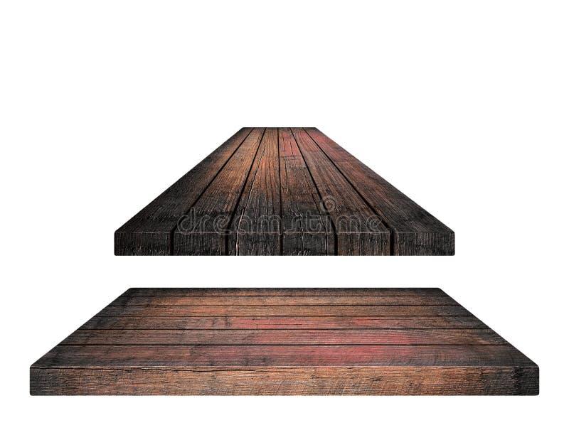 Töm den bruna trätabletopen, vertikala plankor på vit bakgrund royaltyfri foto