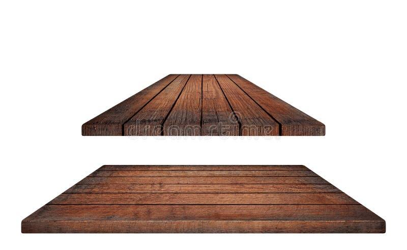 Töm den bruna trätabletopen, vertikala plankor på vit bakgrund royaltyfri fotografi