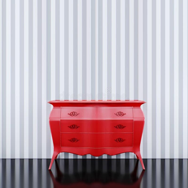 Töm den falska övre väggen med den röda byrån royaltyfri illustrationer