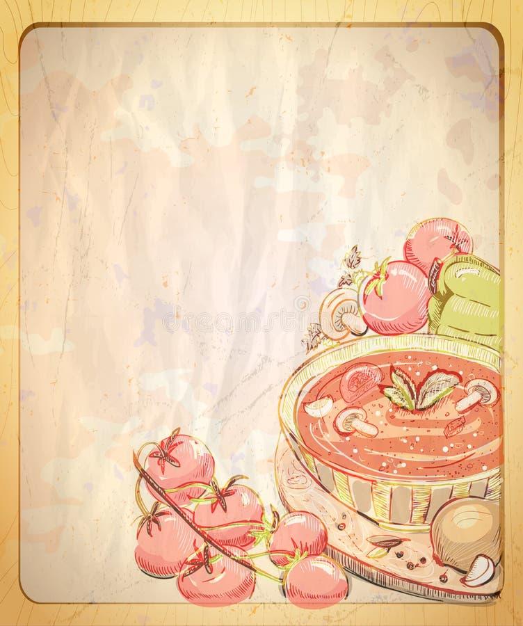 Töm den pappers- bakgrunden med handen drog grafiska illustrationen av tomatsoppa vektor illustrationer