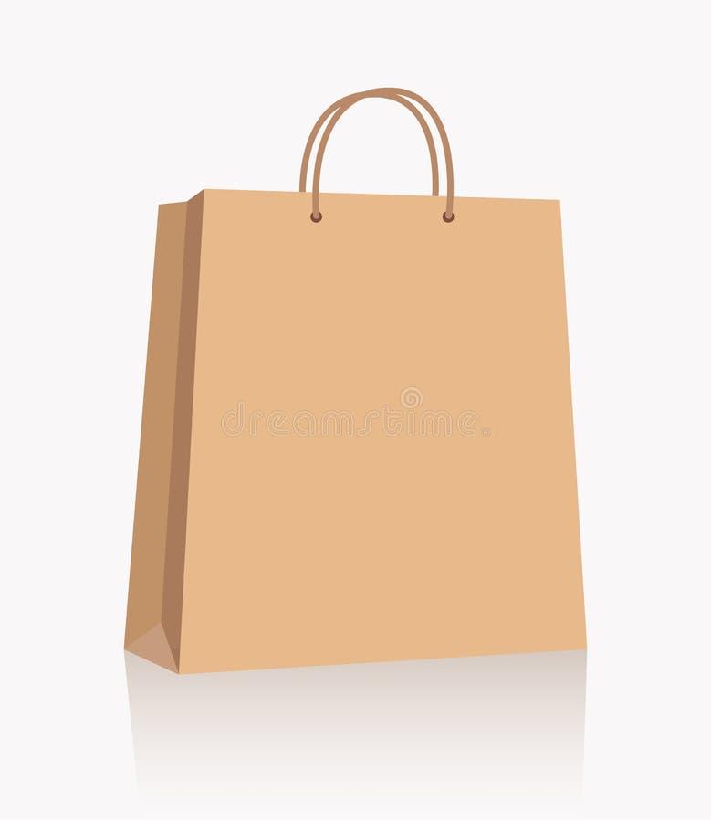 Töm den pappers- påsen för brun shopping med handtag på vit bakgrund stock illustrationer