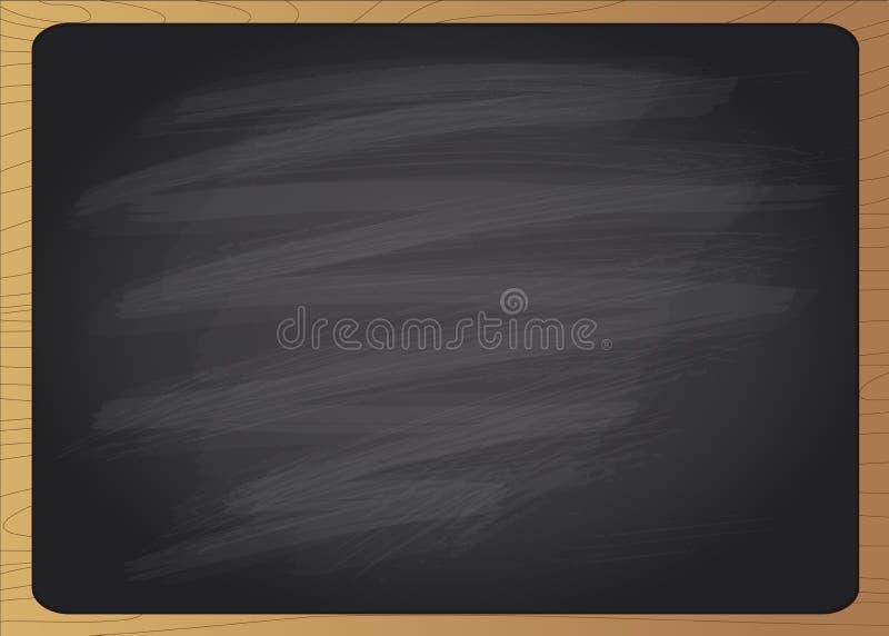 Töm det svarta kritabrädet med träramen stock illustrationer