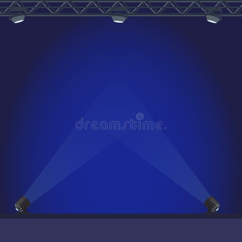 Töm etappen med den blåa lighteningillustrationen vektor illustrationer