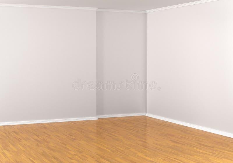 Töm hörnet i ett rum, vita väggar stock illustrationer