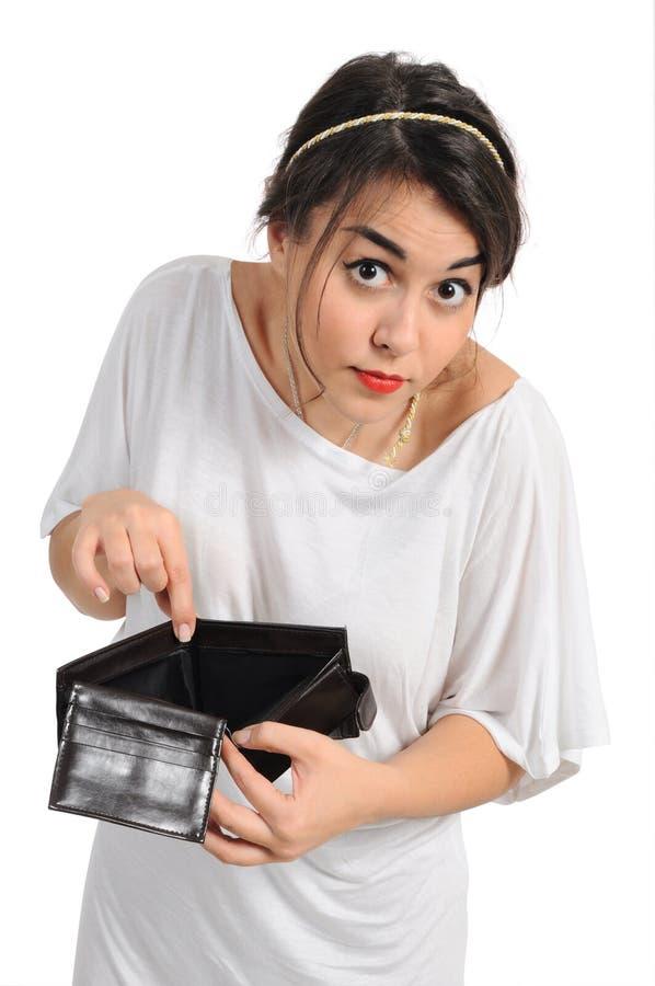 töm handväskan arkivbild