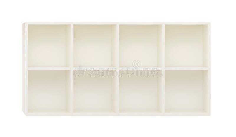 Töm hyllor i den vita träkuggen som isoleras på vit arkivbild