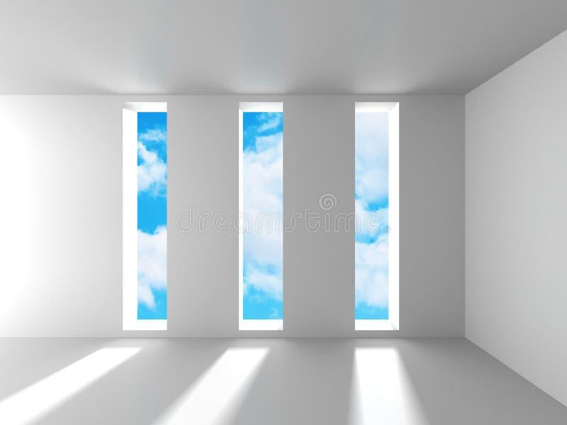 Töm inre för vitt rum med fönster till himmel vektor illustrationer