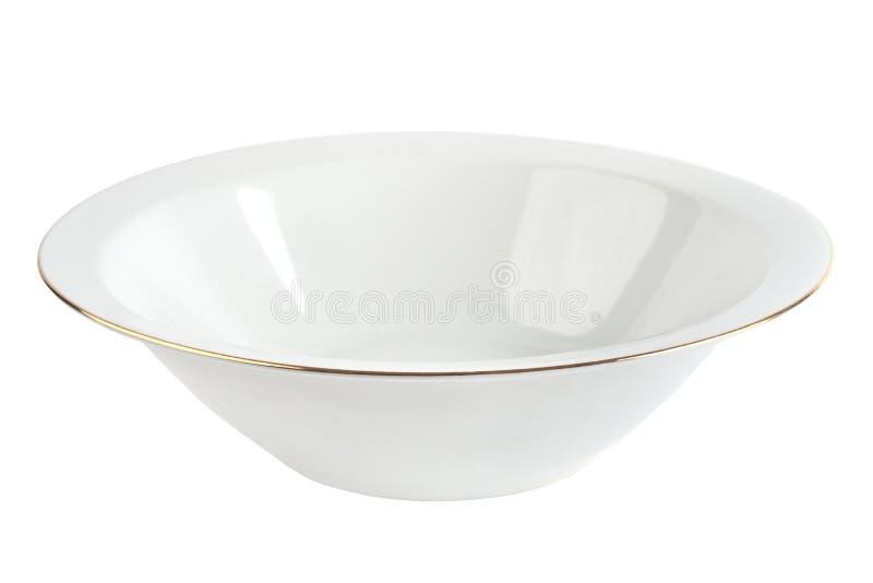Töm plattan med den isolerade guld- kanten keramisk white för bunke royaltyfria foton