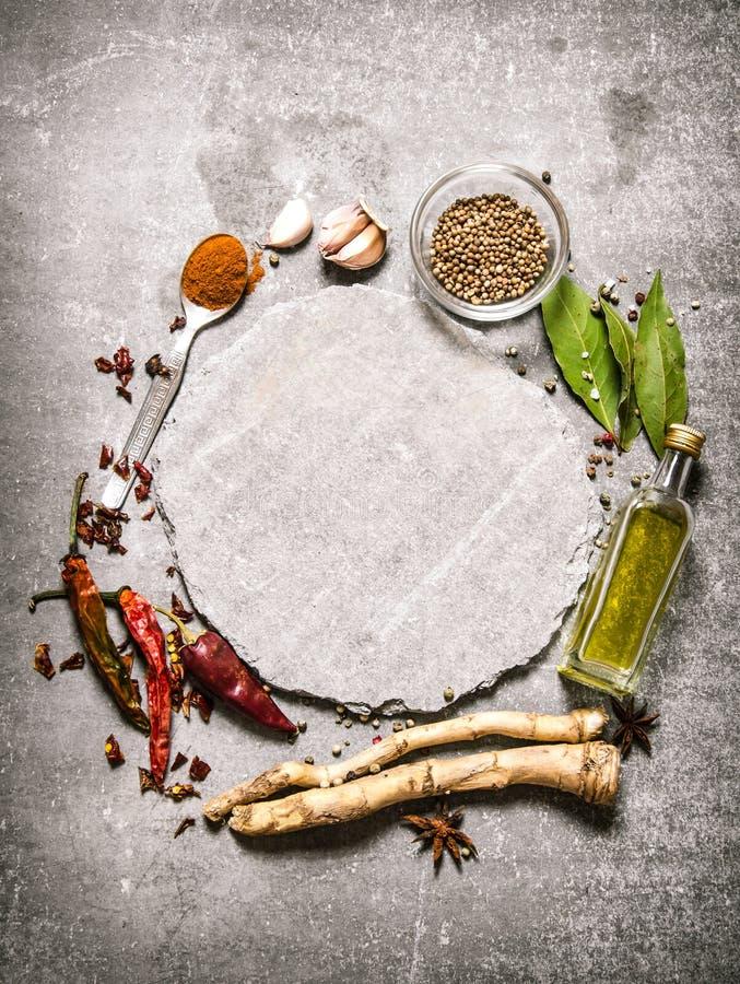 Töm plattan med kryddiga kryddor och örter omkring fotografering för bildbyråer