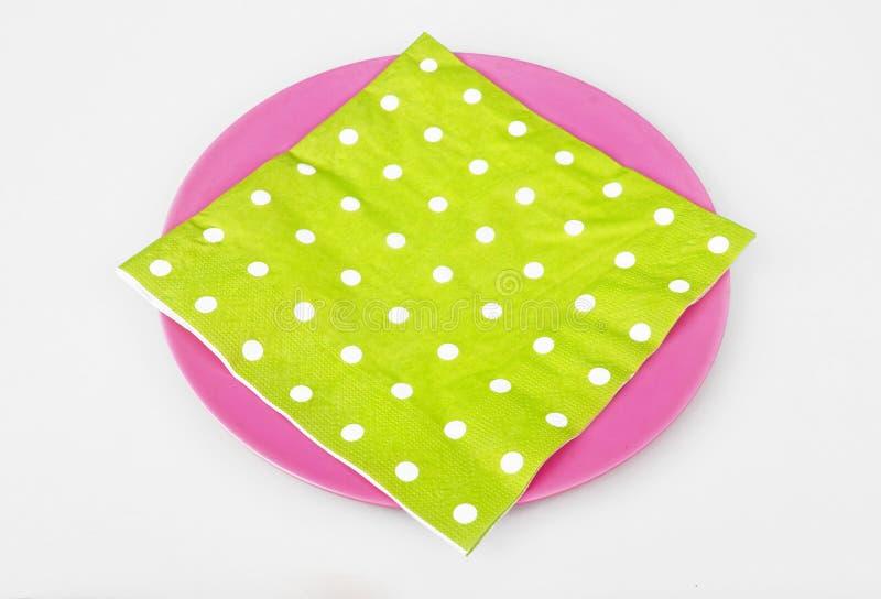 Töm plattan med servetten arkivfoton