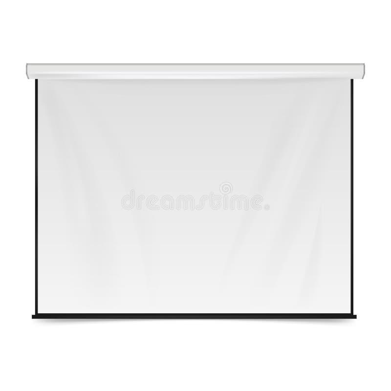 töm projektionsskärmen blank brädepresentation Tom whiteboard för konferensen som isoleras på vit bakgrund Vektorillustrati stock illustrationer