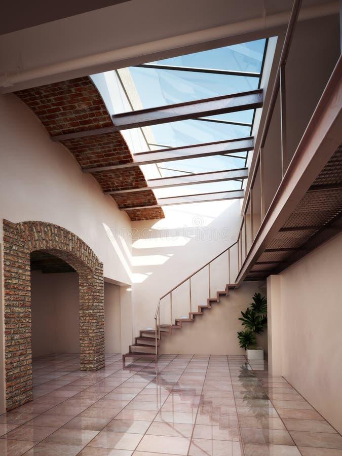 Töm rum med lantliga tegelsten- och taktakfönster arkivfoto