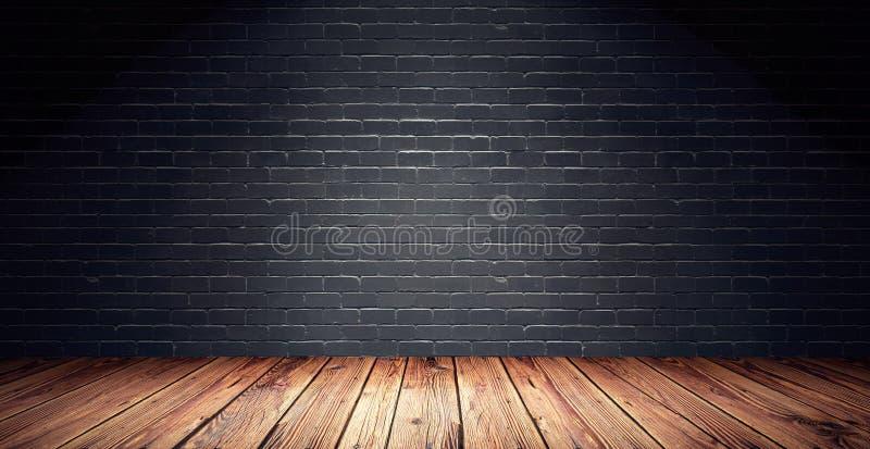 Töm rum med den svarta tegelstenväggen och trägolvet royaltyfri illustrationer
