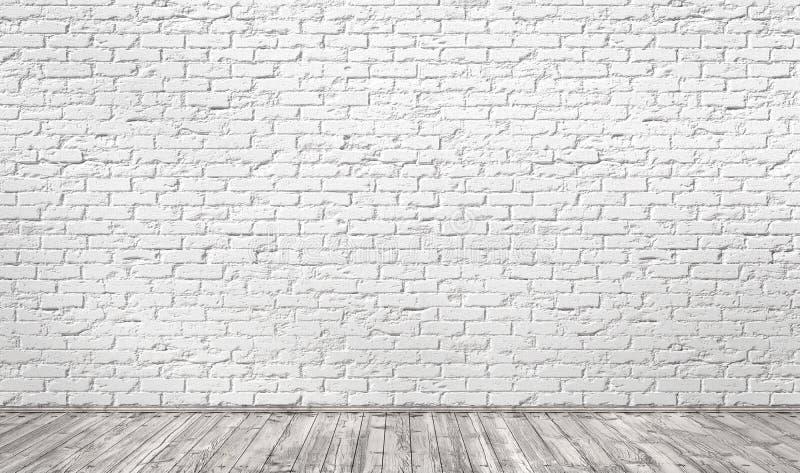 Töm rum med den vita tegelstenväggen och trägolvet stock illustrationer