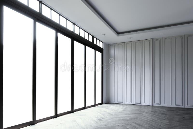Töm rum med den vita väggen och en glass glidningsdörrram, beaut royaltyfria foton