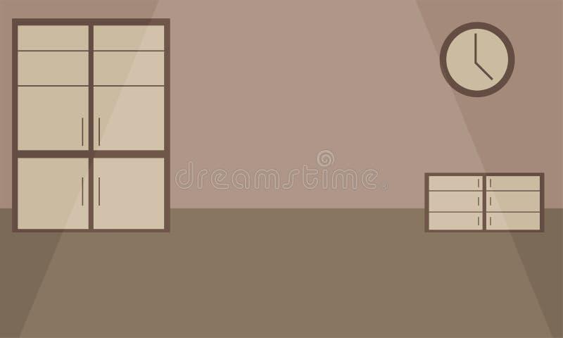 Töm rum med skåpet, byrån och klockan på väggen vektor illustrationer
