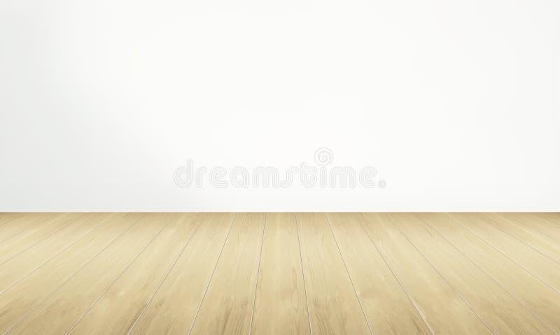 Töm rum och trägolvet med den vita väggen arkivfoto
