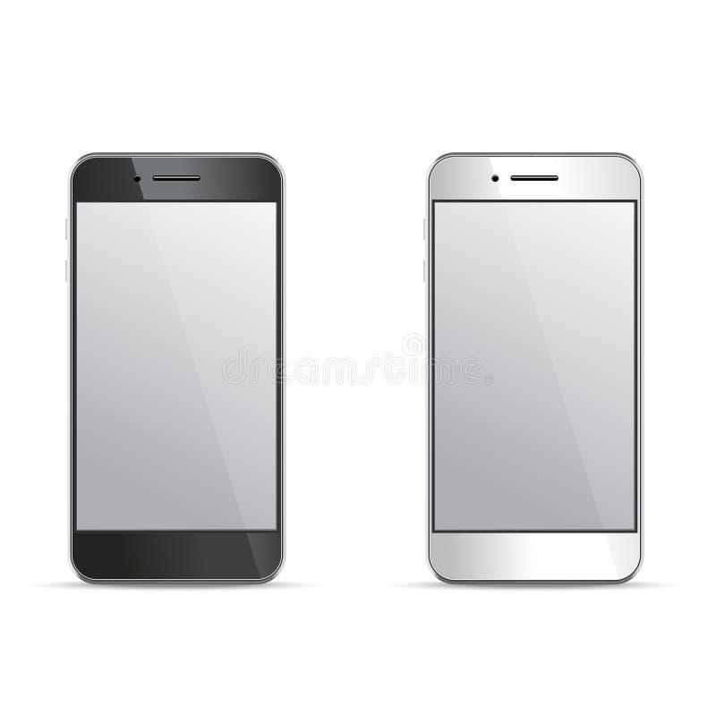Töm skärmsmartphonemallar på vit bakgrund stock illustrationer