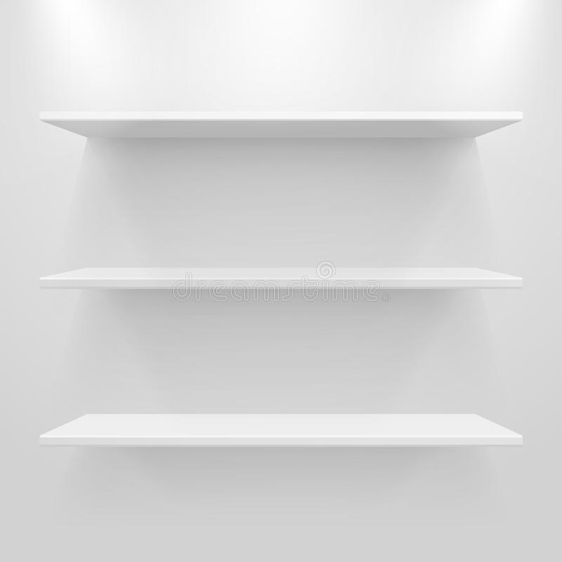Töm vita hyllor på lampa - grå bakgrund stock illustrationer
