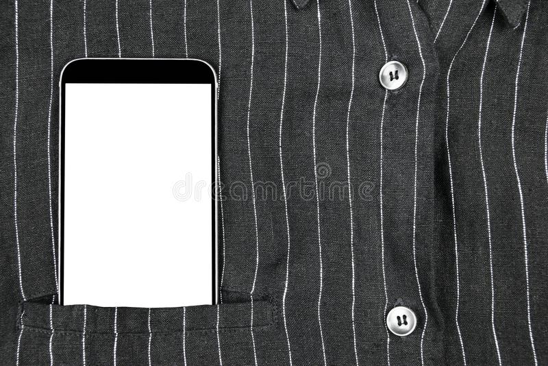 Tömmer den säkra affärsmannen för closeupen som bär den eleganta dräkten och mobiltelefonen, smartphone med den vita skärmen och, arkivfoton