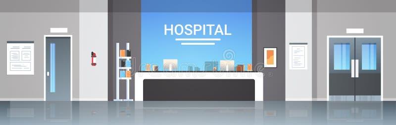 Tömmer den väntande korridoren för sjukhusmottagandeskrivbordet med begrepp för sjukvård för möblemang för dörrar för information vektor illustrationer
