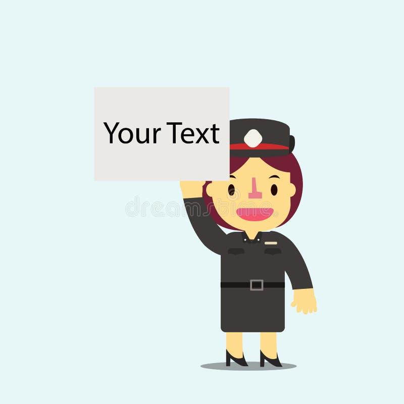 Tömmer hållande vita för den thailändska kvinnapolisen brädet för din textvektor royaltyfri illustrationer