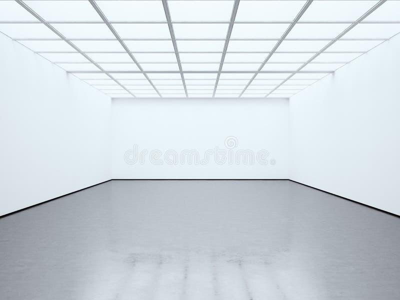 Tömmer tomma vita för foto rumsamtidagallerit Modern öppet utrymmeexpo med det konkreta golvet Ställe för affär royaltyfri fotografi