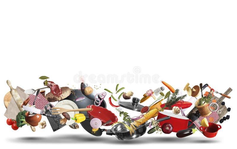 Töpfe und Wannen mit Gemüse stockfotografie