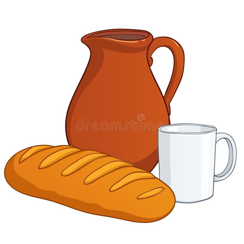 Töpferware mit Milch und langem Laib vektor abbildung