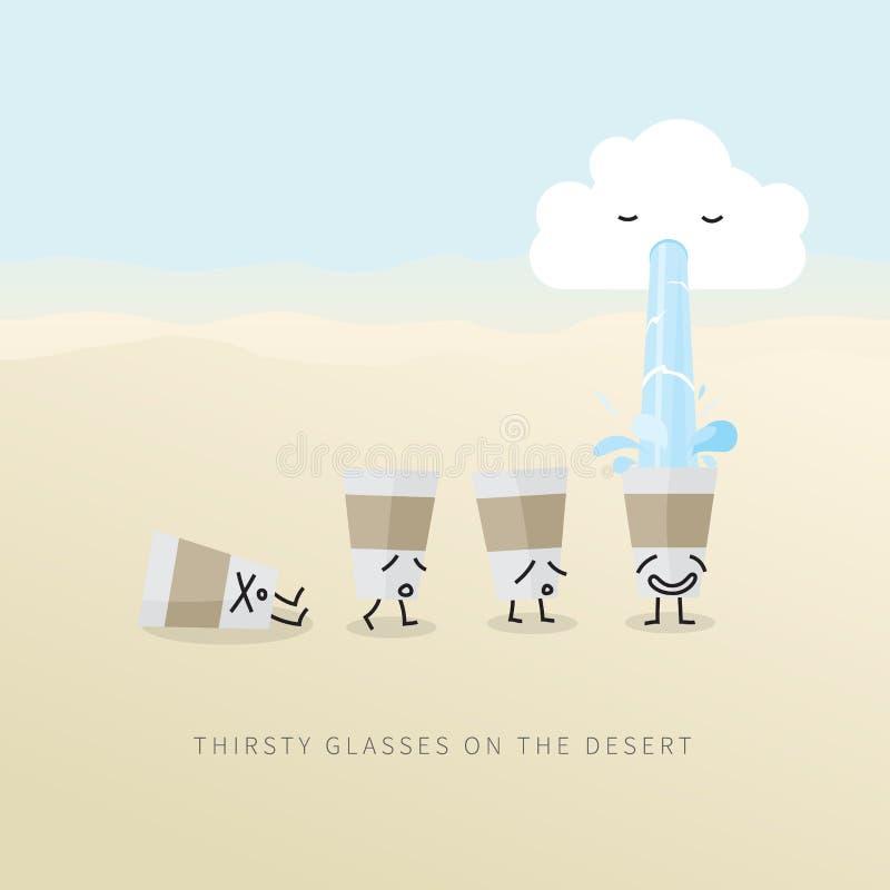 Törstiga exponeringsglas på öknen vektor illustrationer