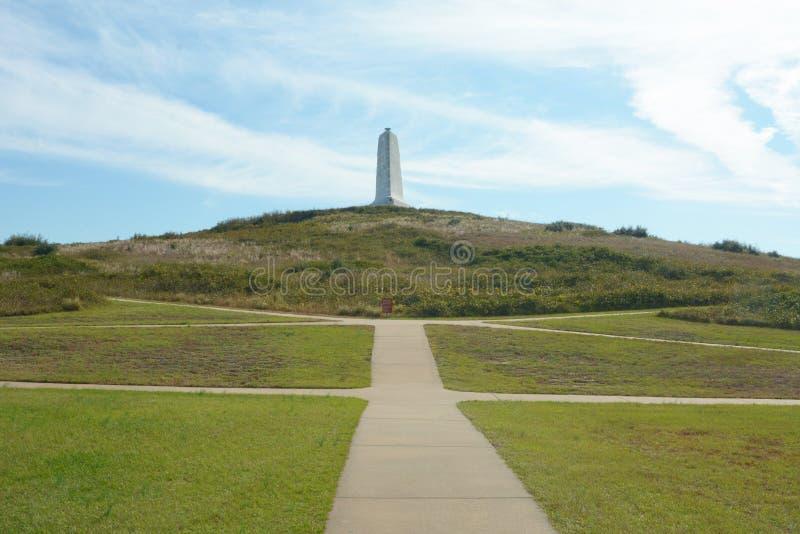Tötungs-Teufel-Hügel war die Sanddüne, in der Wright Brothers zuerst ihre Starts auf einer hölzernen Schiene übte lizenzfreie stockfotos