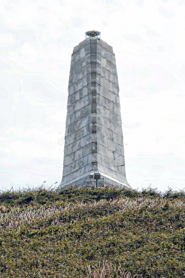 Tötungs-Teufel-Hügel war die Sanddüne, in der Wright Brothers zuerst ihre Starts auf einer hölzernen Schiene übte lizenzfreie stockfotografie