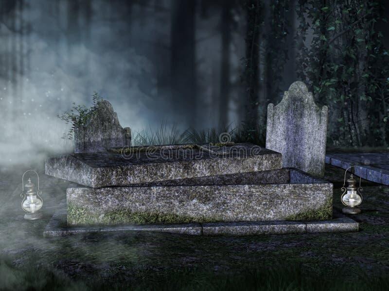 Túmulo aberto em um cemitério ilustração stock