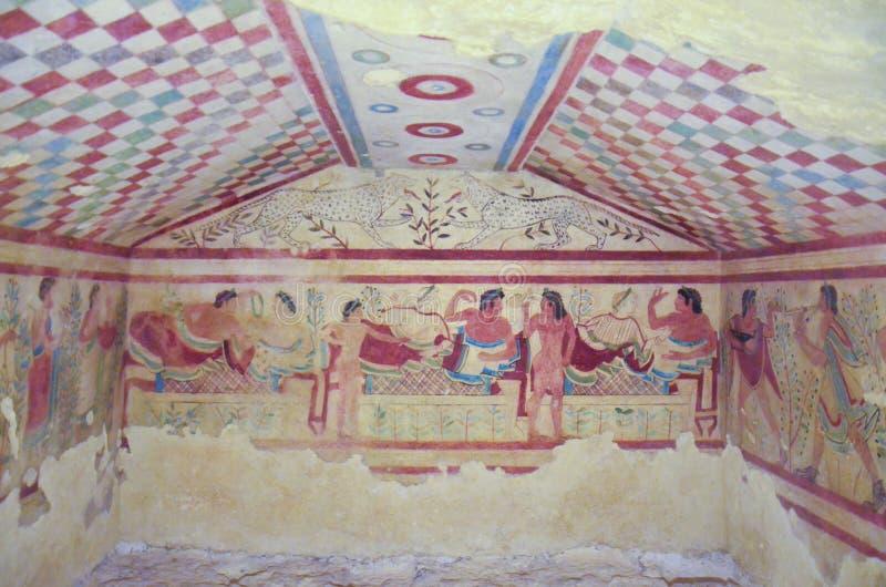 Túmulo com fresco, Tarquinia 4 de Etruscan imagens de stock royalty free