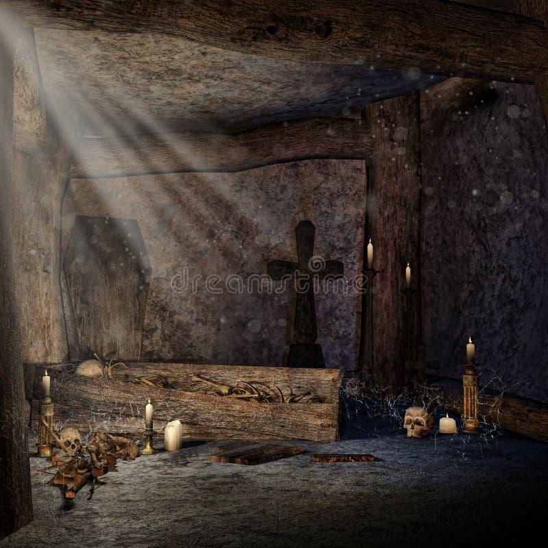 Túmulo de pedra com ossos ilustração royalty free