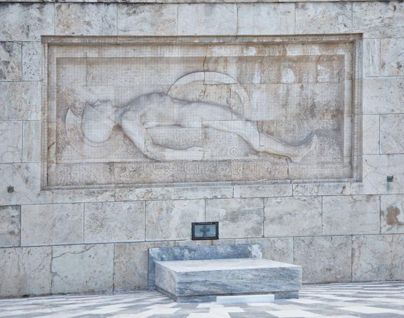 Túmulo do soldado desconhecido no palácio presidencial, Atenas, greece foto de stock royalty free