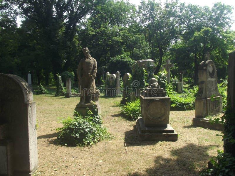 Túmulo memorável #01 do soldado do herói do vintage no cemitério de Budapest, Hungria imagens de stock