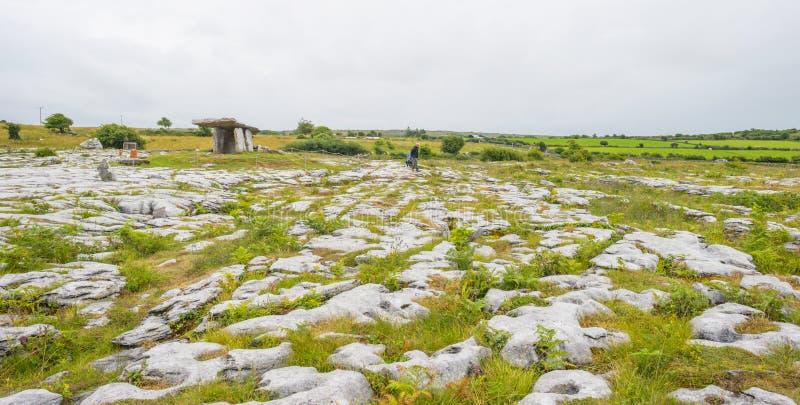 Túmulo portal antigo na paisagem do cársico do parque nacional o Burren imagens de stock royalty free