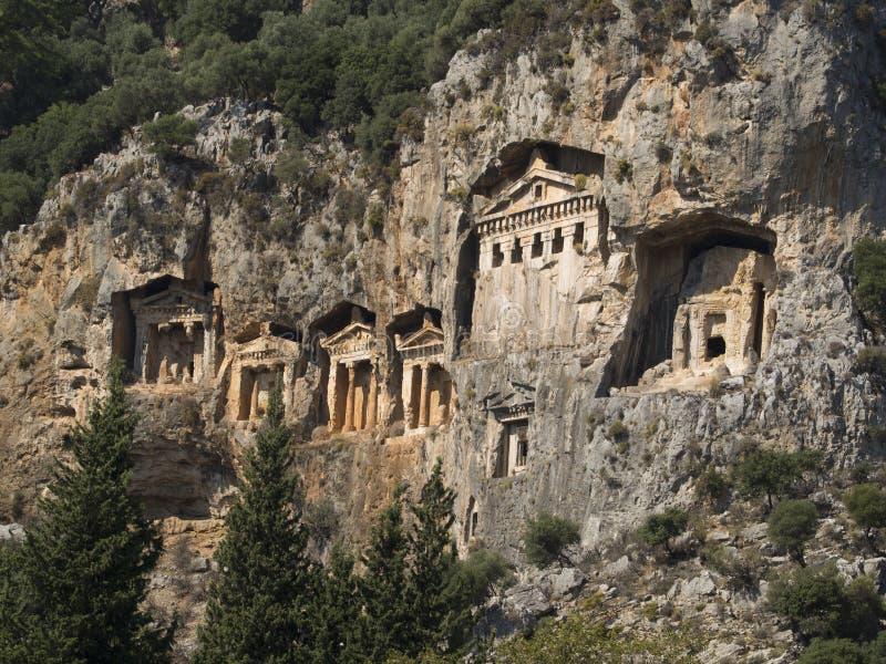 Túmulos antigos dos reis, Dalyan Turquia da rocha imagens de stock
