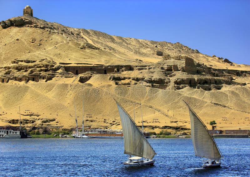 Túmulos de Aswan dos nobres foto de stock royalty free