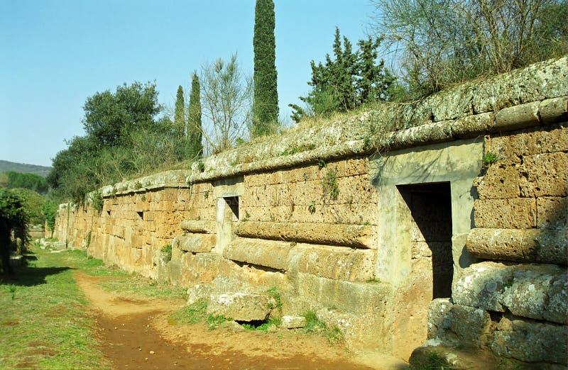 Túmulos de Etruscan, Cerveteri, Itália foto de stock
