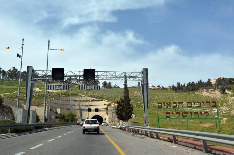 Túneis da estrada de Mount Scopus no Jerusalém, Israel fotografia de stock royalty free