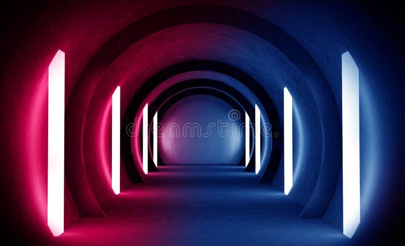 Túnel abstracto, pasillo con los rayos de puntos culminantes ligeros y nuevos Fondo azul abstracto, de neón imagen de archivo libre de regalías