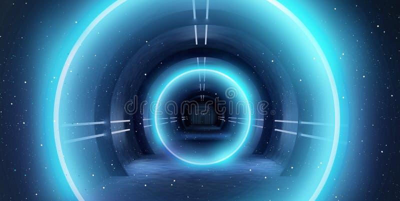 Túnel abstracto, pasillo con los rayos de puntos culminantes ligeros y nuevos Fondo azul abstracto, de neón foto de archivo