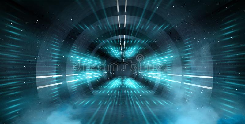 Túnel abstracto, pasillo con los rayos de puntos culminantes ligeros y nuevos Fondo azul abstracto, de neón fotografía de archivo