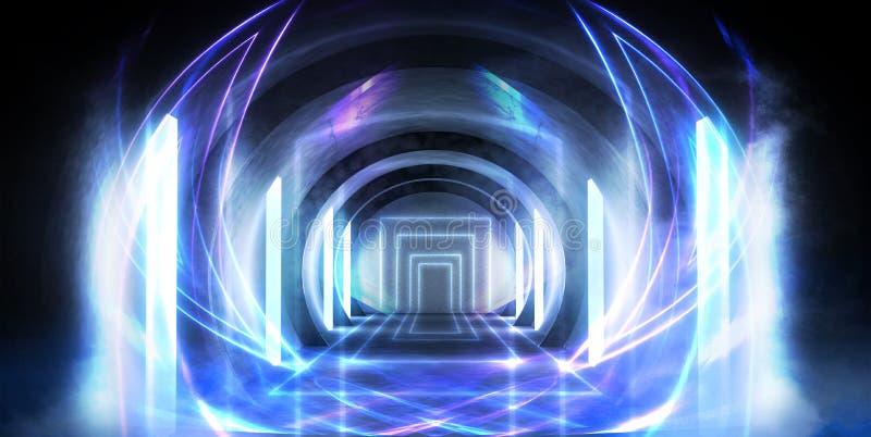 Túnel abstracto, pasillo con los rayos de puntos culminantes ligeros y nuevos Fondo azul abstracto, de neón imagenes de archivo
