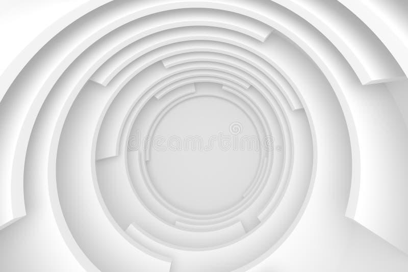 Túnel abstrato branco Projeto moderno circular ilustração royalty free