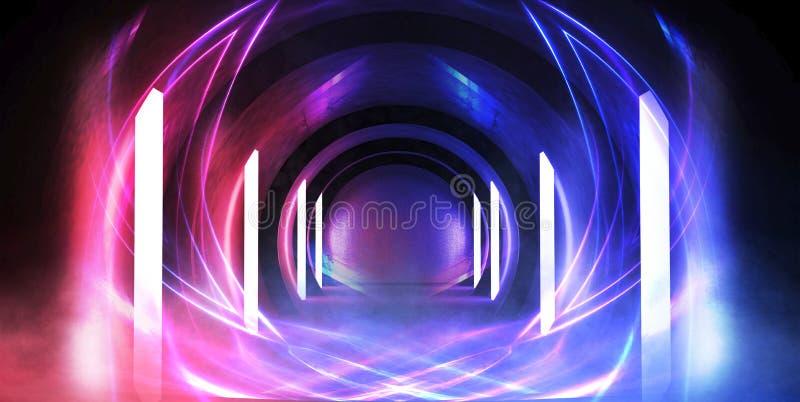 Túnel abstrato, corredor com raios de destaques claros e novos Fundo azul abstrato, de néon ilustração do vetor