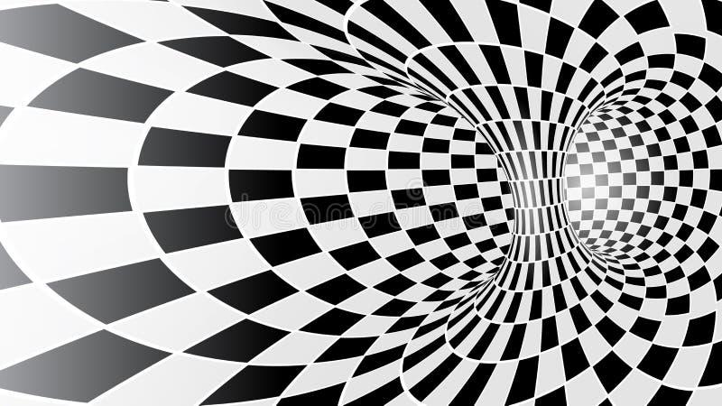 Túnel abstrato preto e branco do vetor ilustração do vetor