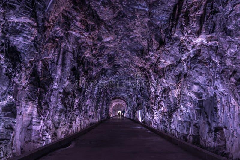 Túnel antiguo de Rarilway encendido en la púrpura, Brockville, Ontario, imágenes de archivo libres de regalías